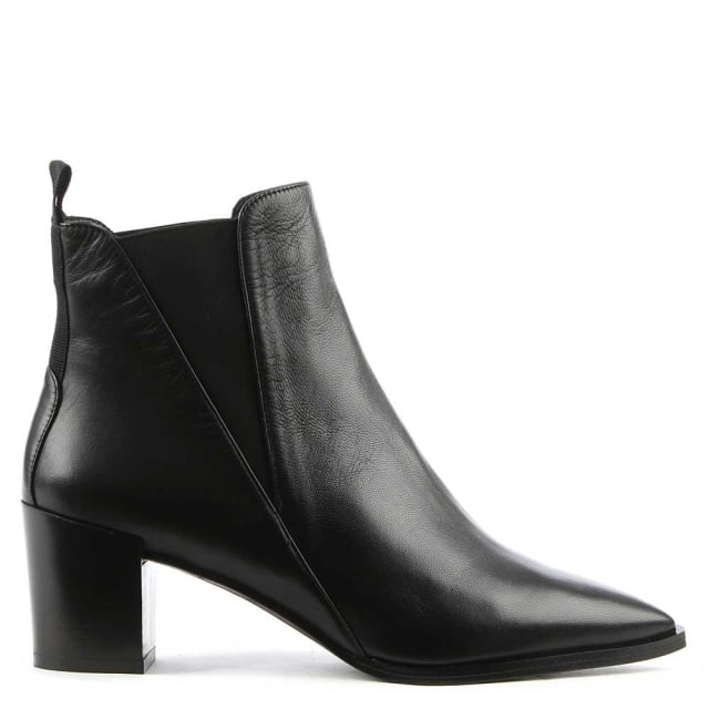 Anniel Black Leather Pointed Toe Chelsea Boot