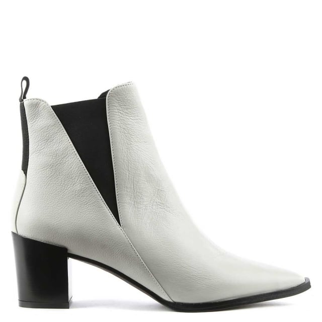 Anniel White Leather Pointed Toe Chelsea Boot