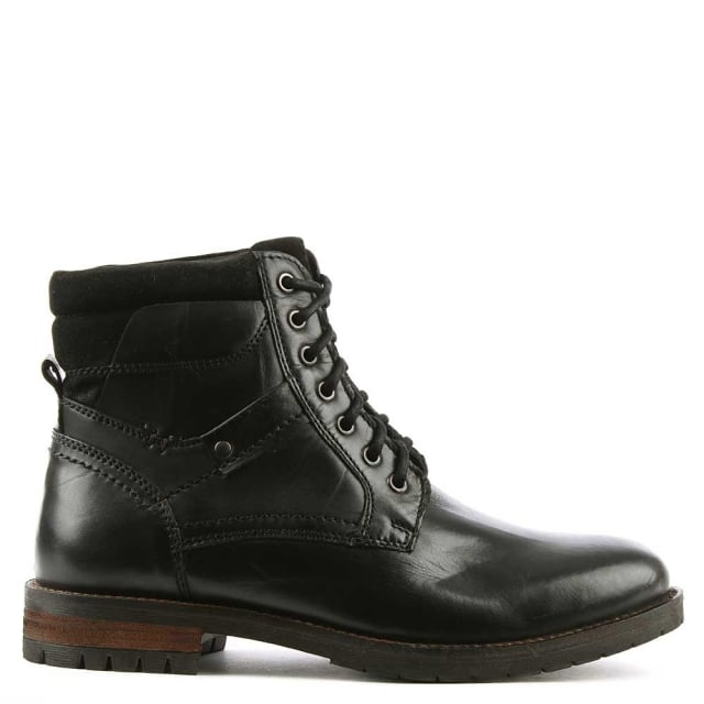 Antenucci Black Leather Lace Up Boot