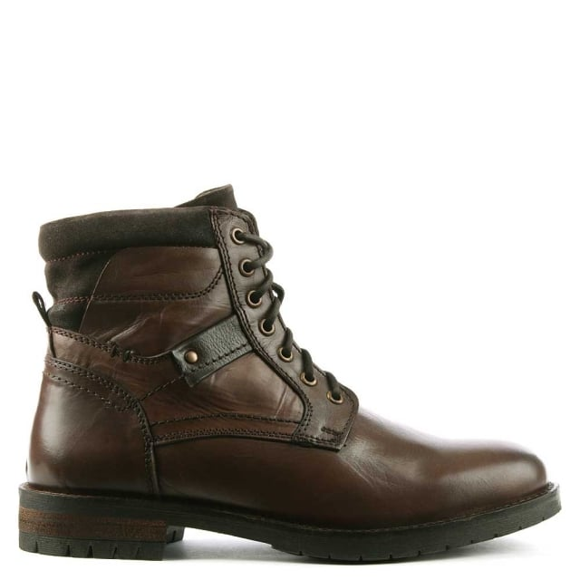 Antenucci Brown Leather Lace Up Boot