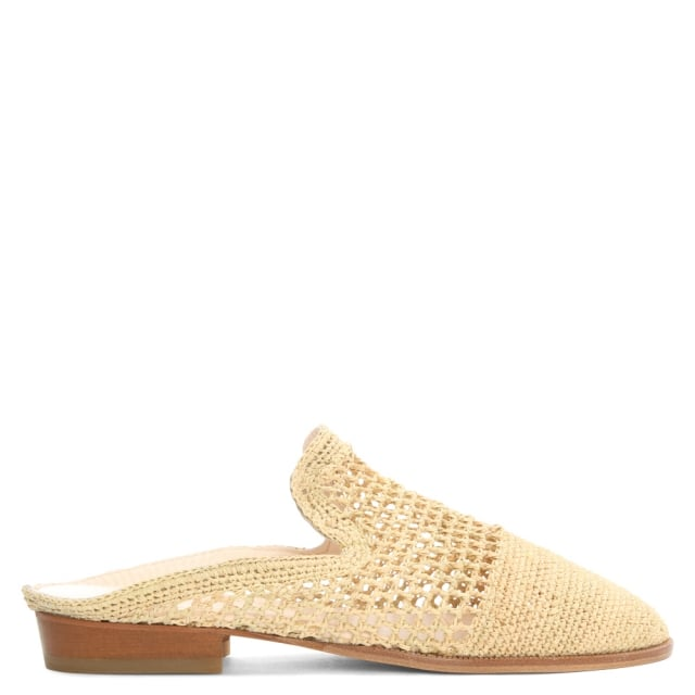 Antes Beige Raffia Backless Mule