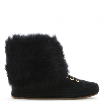 Antoine Fur Black Suede Ankle Boots