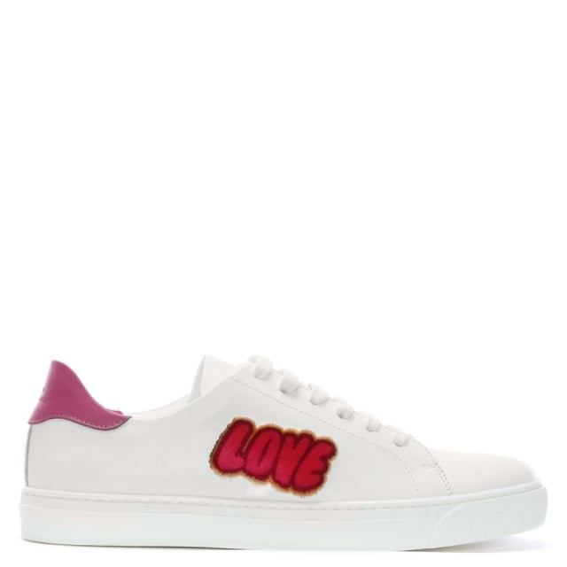 Love & Kisses White Leather Sneakers