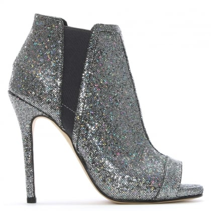 Apeep Silver Metallic Glitter Ankle Boots
