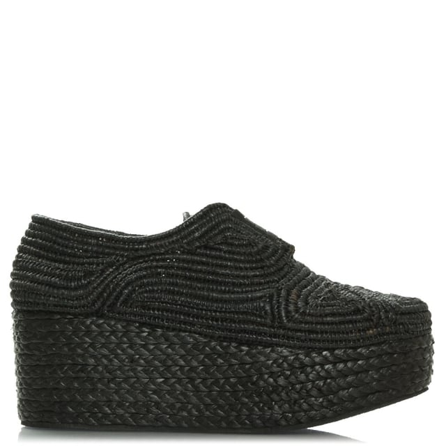 Apinto Black Raffia Flatform Lace Up Shoe