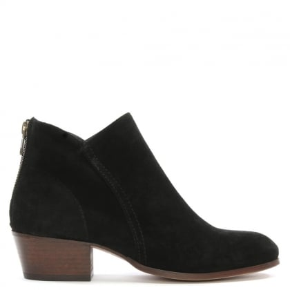 Apisi Black Suede Stacked Heel Ankle Boots