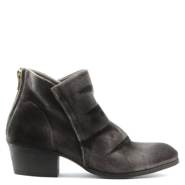 Apisi Grey Velvet Stacked Heel Ankle Boots