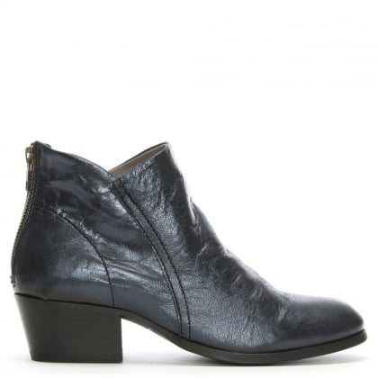Apisi Navy Metallic Leather Stacked Heel Ankle Boots