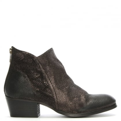 Apisi Pewter Reptile Leather Stacked Heel Ankle Boots