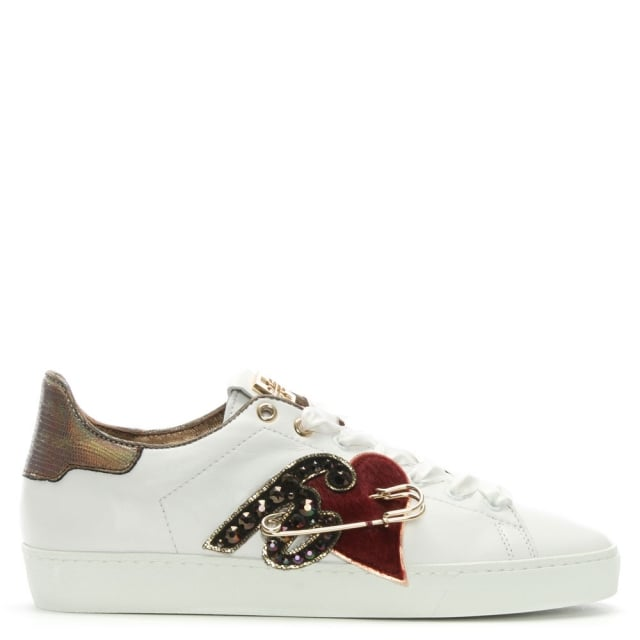 Hogl Applique White Leather Lace Up Trainers
