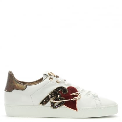 Applique White Leather Lace Up Trainers
