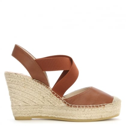 Aprica Tan Leather Closed Toe Wedge Espadrilles