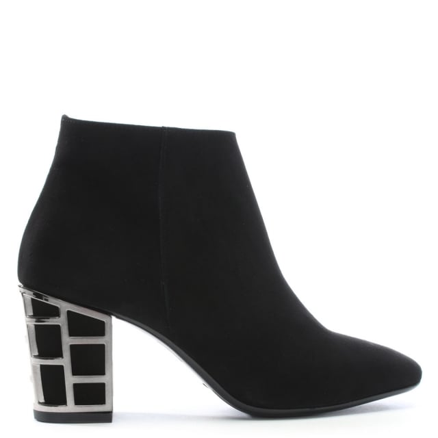 Aquart Black Suede Caged Heel Ankle Boots