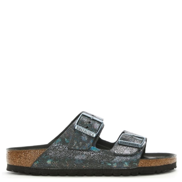 Arizona Hex Black Metallic Two Bar Mules