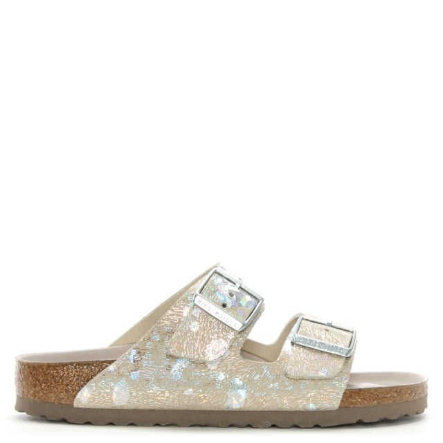 Arizona Hex Silver Suede Two Bar Mules