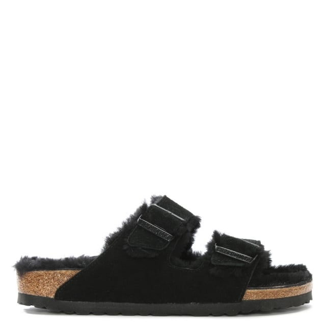Arizona Shearling Black Suede Two Bar Mules