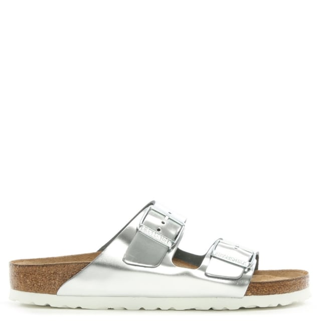 Arizona Silver Metallic Two Bar Mules