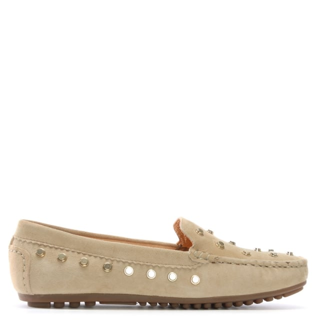 Arline Taupe Suede Studded Loafers