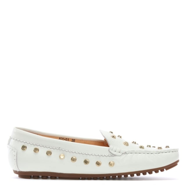 Arline White Leather Studded Loafers