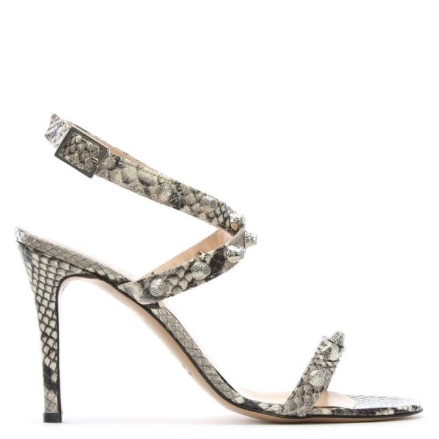 Daniel Arsya Beige Reptile Leather Studded Sandals