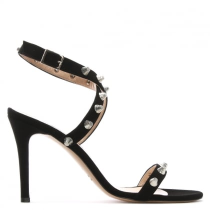 Arsya Black Suede Studded Sandals