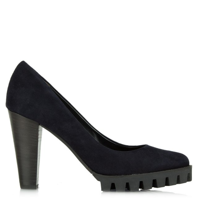 Arzac Navy Suede Cleated Sole Court Shoe