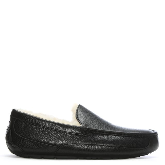 Ascot Black Leather Men's Slippper