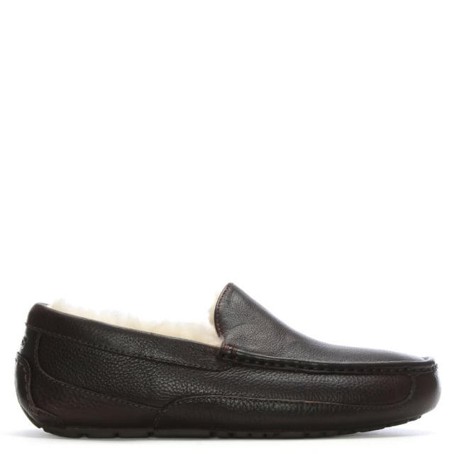 Ascot Mens Leather Shearling Slipper