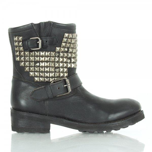 Black Leather TITAN Women's Ankle Biker Boot - Women from Daniel ...