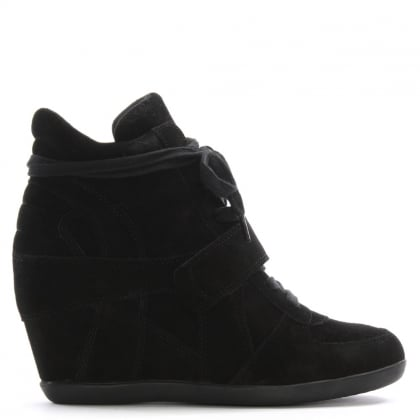 Ash Bowie Black Suede Women's Wedge High Top