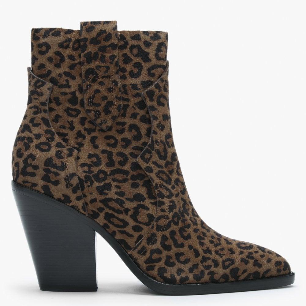 Ash Esquire Leopard Print Suede Western