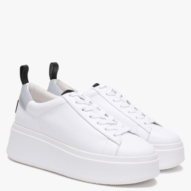 Silver Leather Platform Trainers