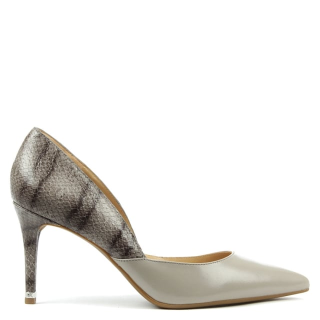 Ashby Beige Leather Two Tone Mid Pump