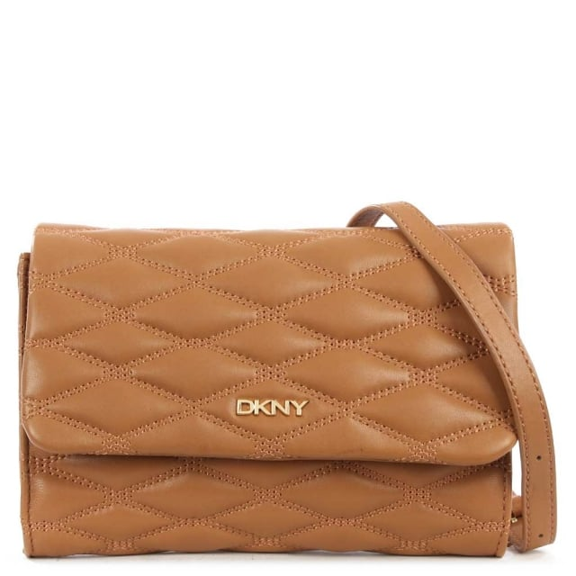 Ashley Dark Camel Leather Quilted Shoulder Bag
