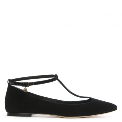 Ashton Black Suede T Bar Flats