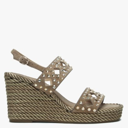 44891b617dd925 Askham Taupe Suede Embellished Rope Wedge Sandals
