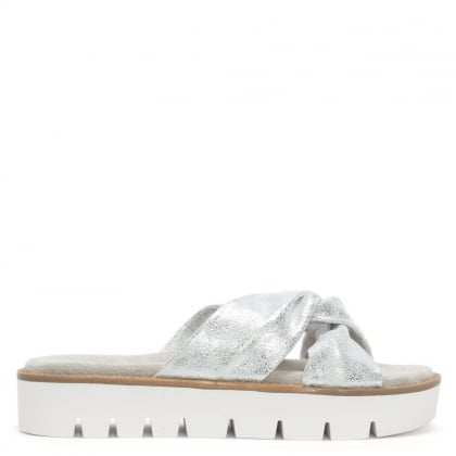 Aspro Silver Metallic Knotted Cross Strap Mules