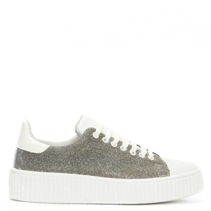 Astoloa Pewter Metallic Sparkle Lace Up Trainer
