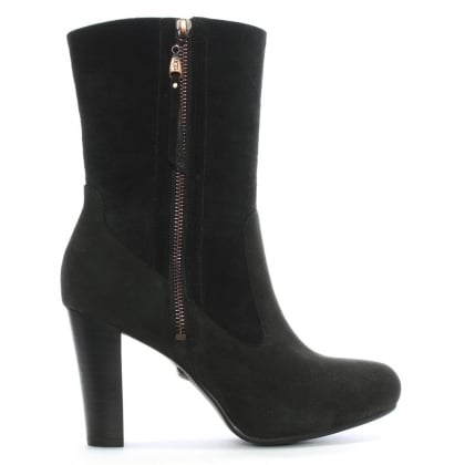Athena Black Suede Mid Boot