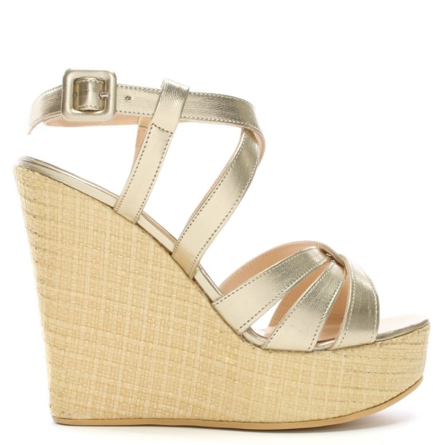 Atosita Gold Leather Woven Wedge Sandals