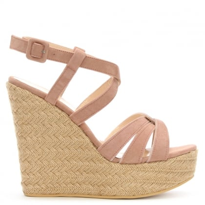 Atosita Pink Suede Jute Wedge Sandals