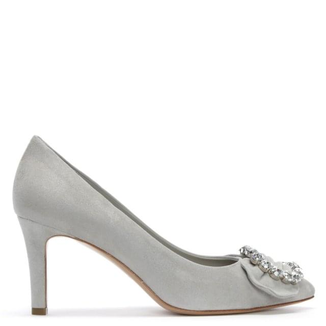 Attock Grey Suede Embellished Court Shoes