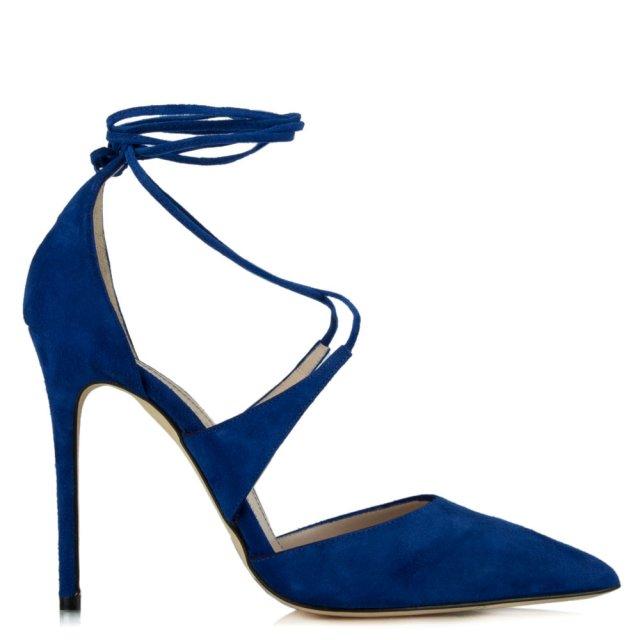 Attraction Blue Suede Lace Up Stiletto Shoe