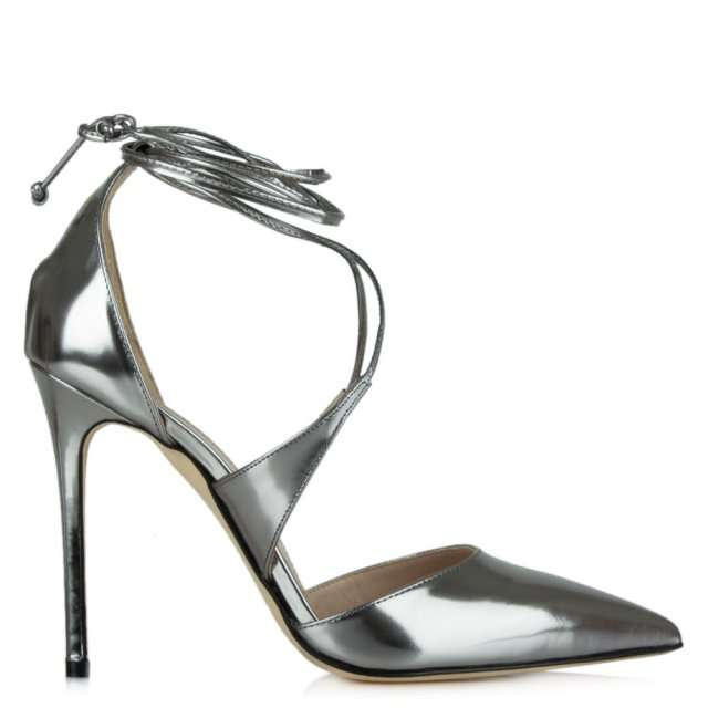 Attraction Pewter Metallic Leather Lace Up Stiletto Shoe