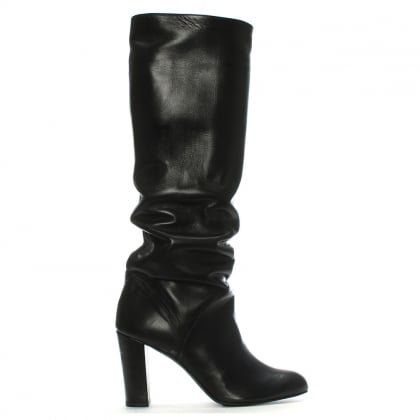 Atube Black Leather Rouched Knee Boots