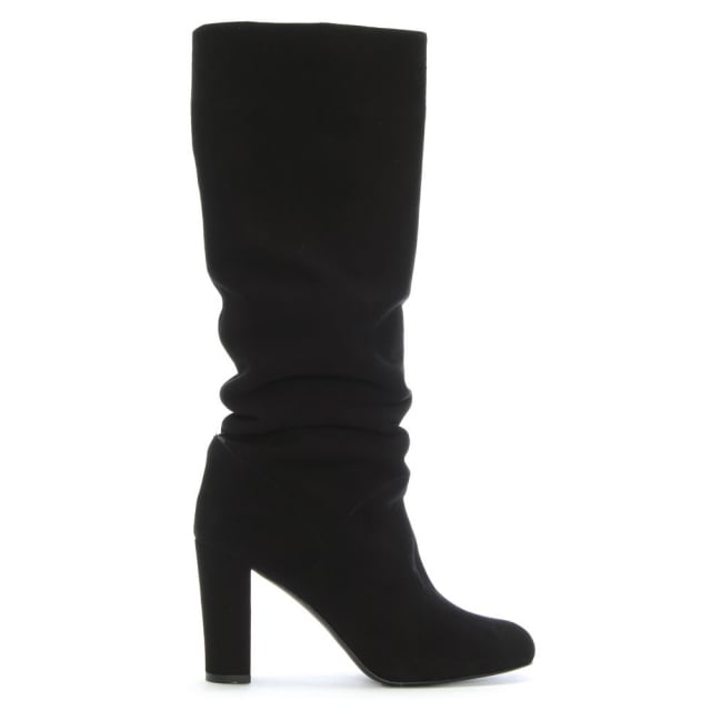 Atube Black Suede Rouched Knee Boots