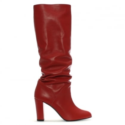 Atube Red Leather Rouched Knee Boots