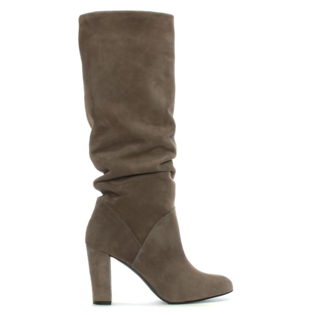 Atube Taupe Suede Rouched Knee Boots