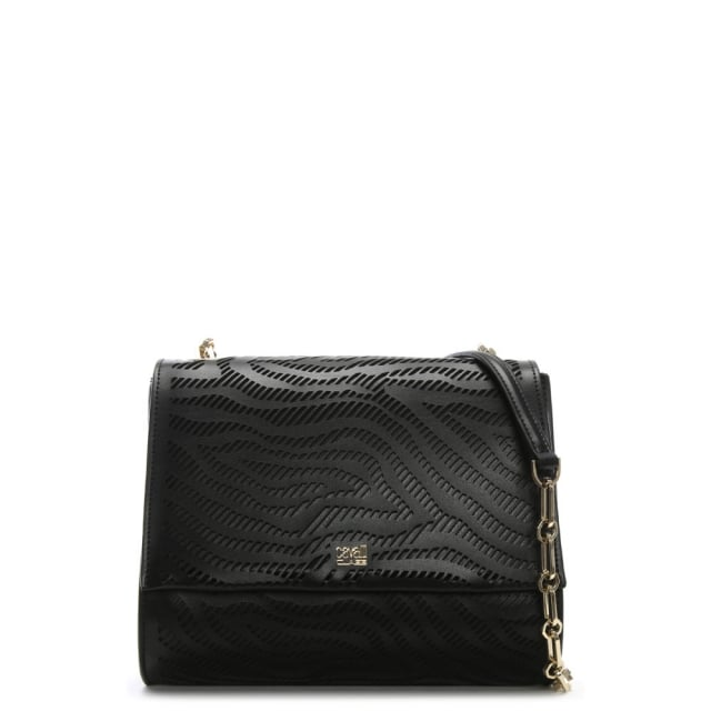 Cavalli Class Audrey Small Black Leather Shoulder Bag