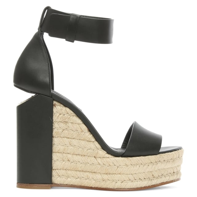 Aurora Black Leather Raffia Wedge Sandal
